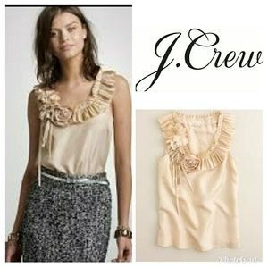 Sz 10 J. Crew Collection Silk Posy Top Black